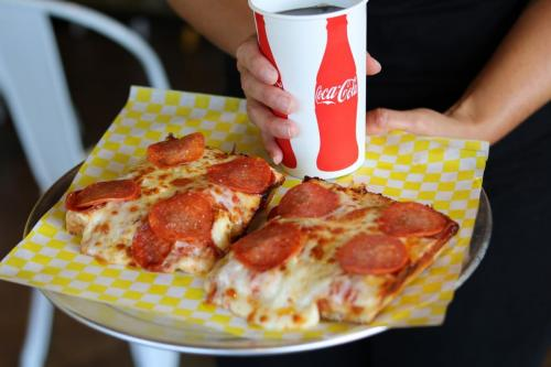 2 Slices of Pizza Panz Pizza with Pepperoni and a Drink